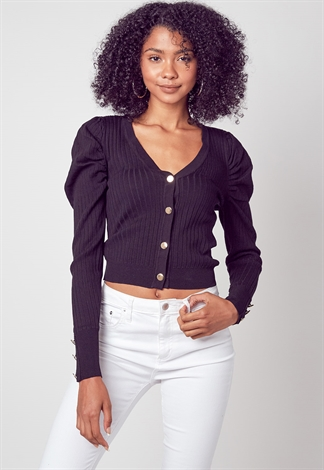 Button Up Puff Shoulder Sleeve Cardigan Top
