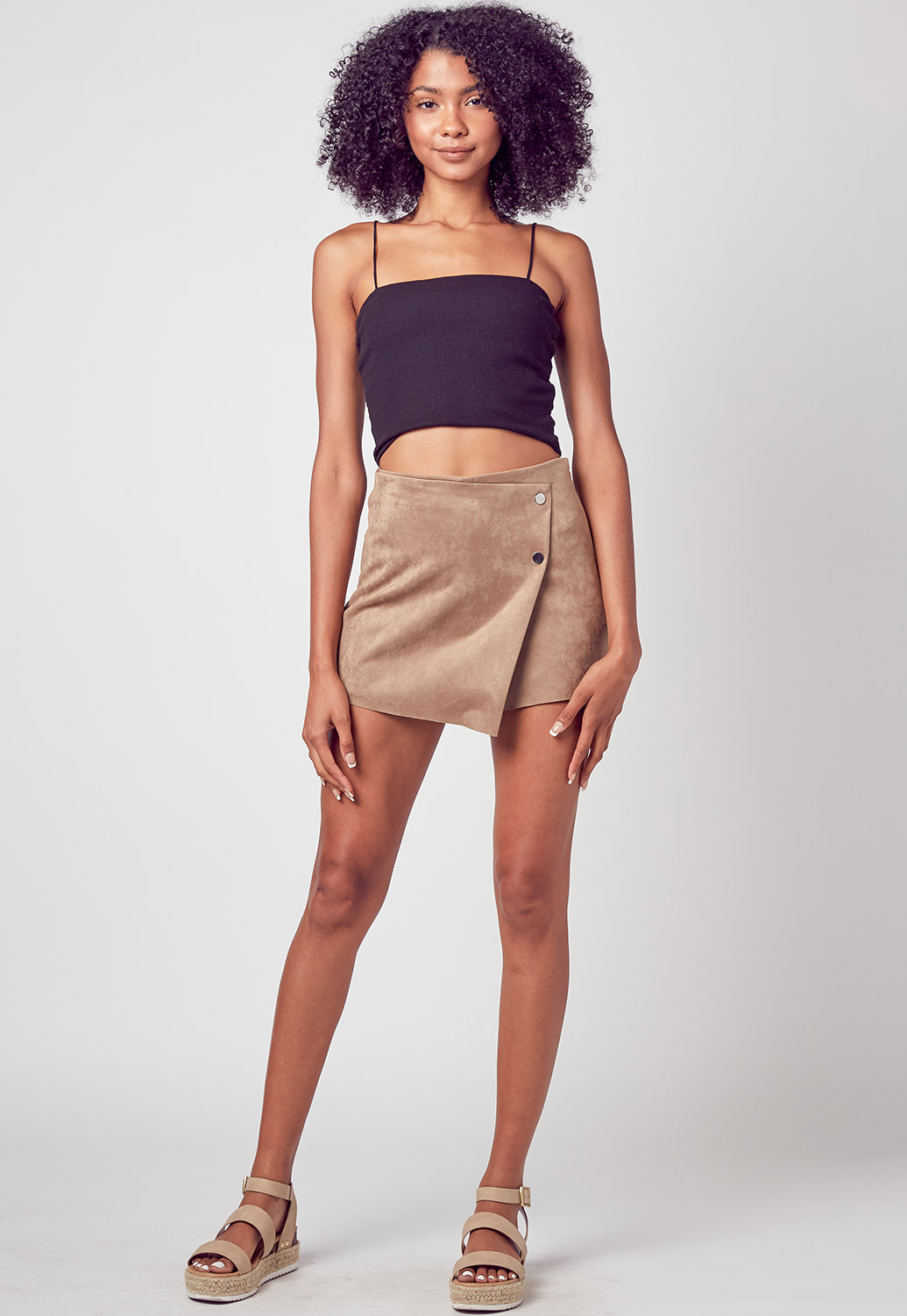 Button Detailed Suede Wrap Skirt