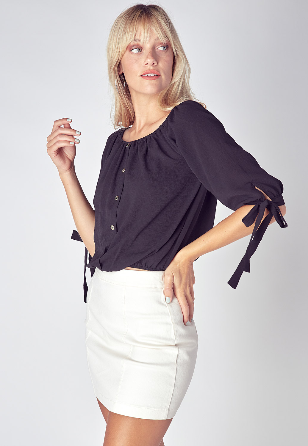 Tie Sleeve Button Up Detailed Blouse Top
