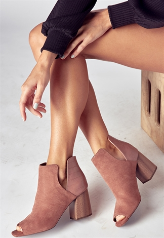Open Toe Open Sidie Ankle Boot Heels