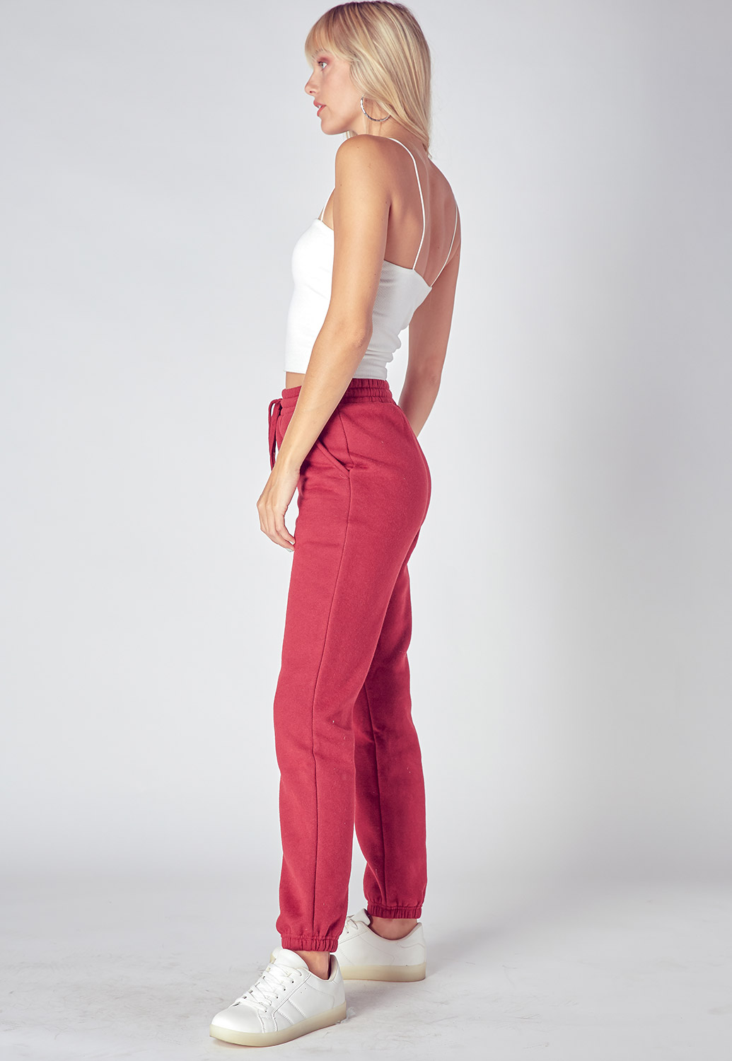 Drawstring Basic Sweat Pants