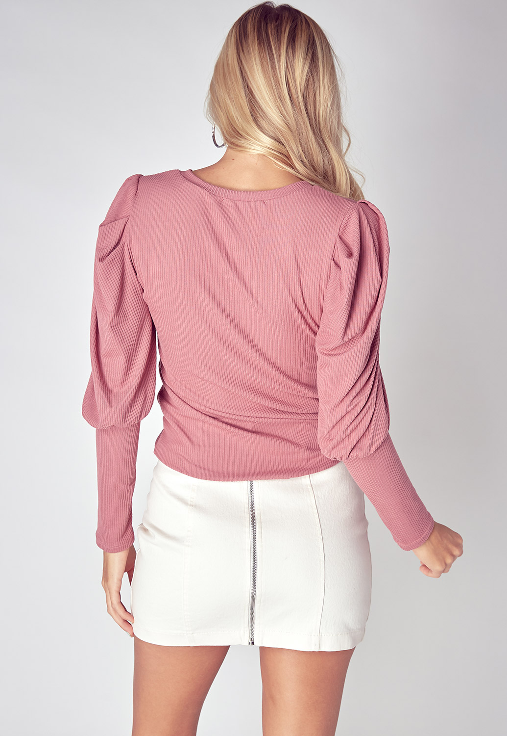 Semi Puff Shoulder Button Detailed Top