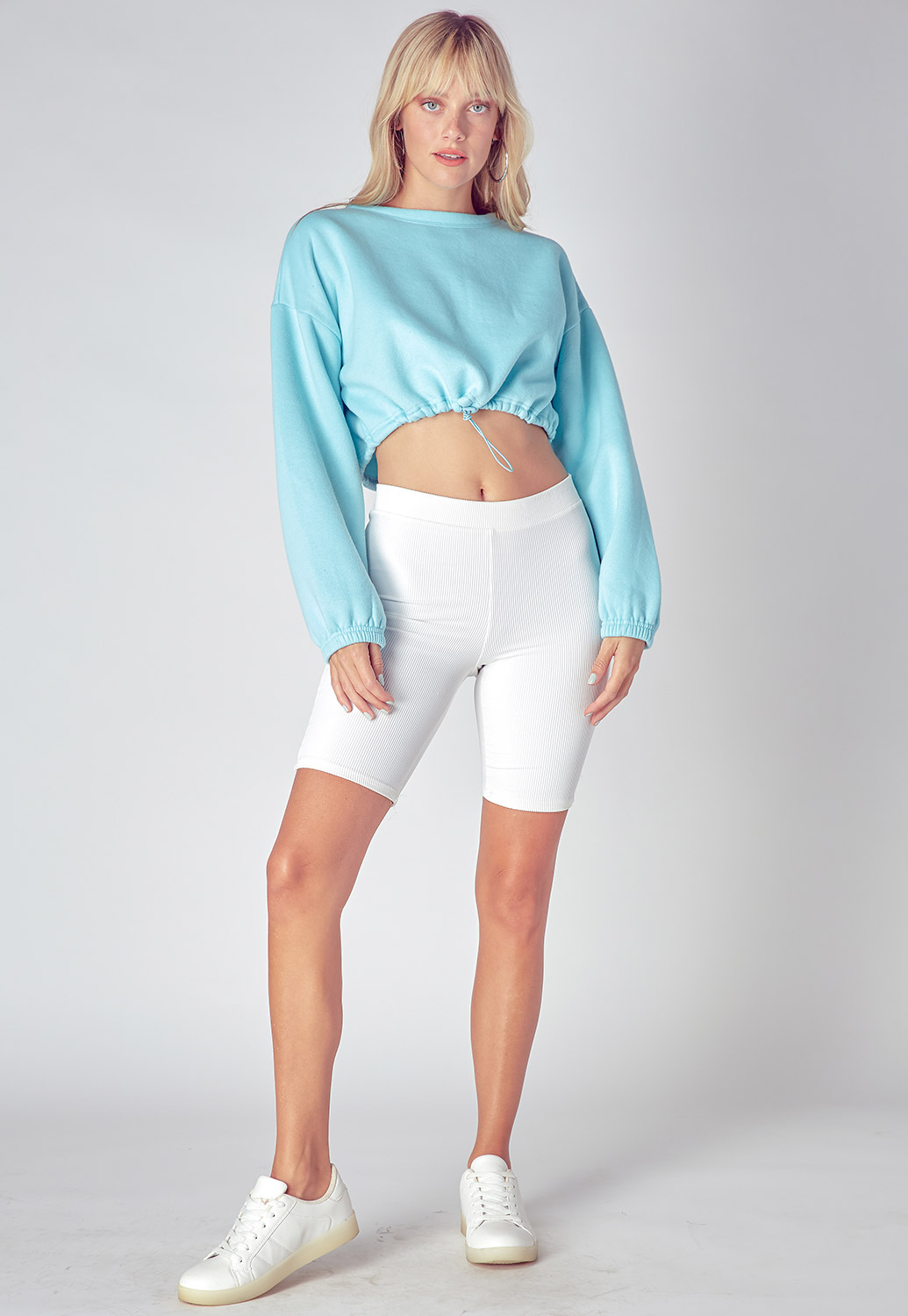 Basic Drawstring Cropped Sweatshirts