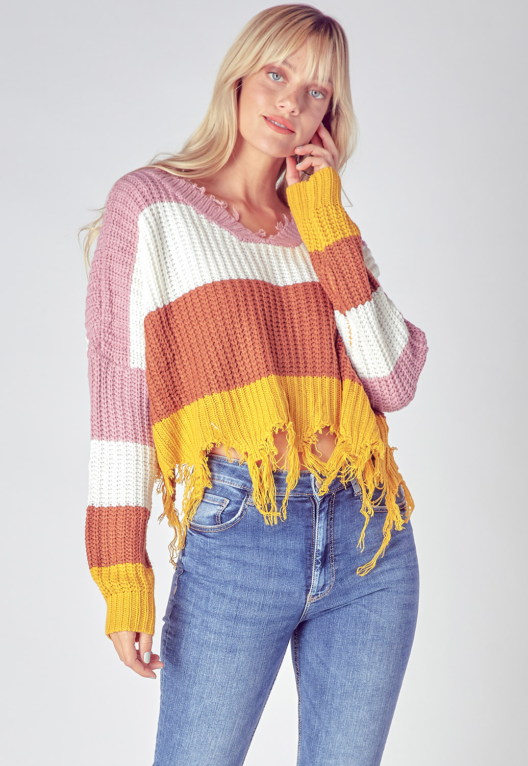 Frayed Edge Multi-Color Cropped Sweater