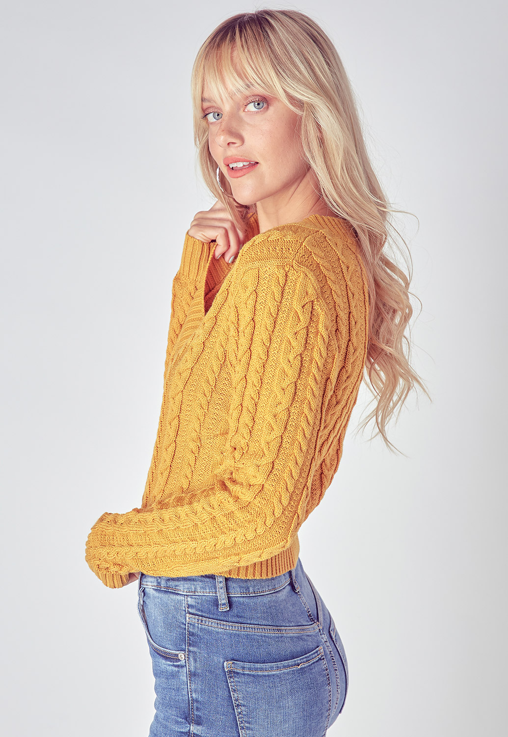 Long Sleeve Fall V-Neck Cropped Sweater