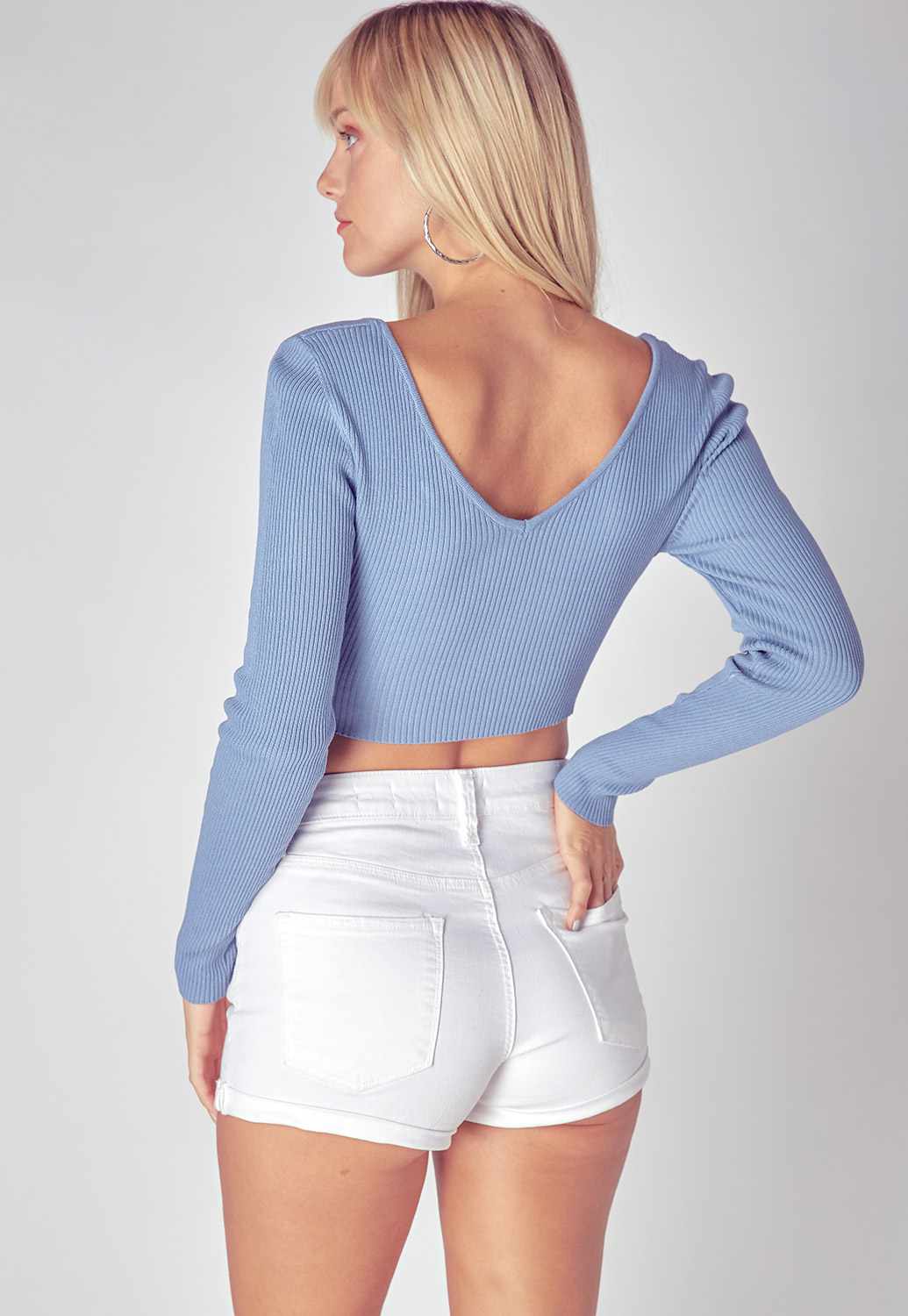 Long Sleeve Wide V-Neck Cropped Top