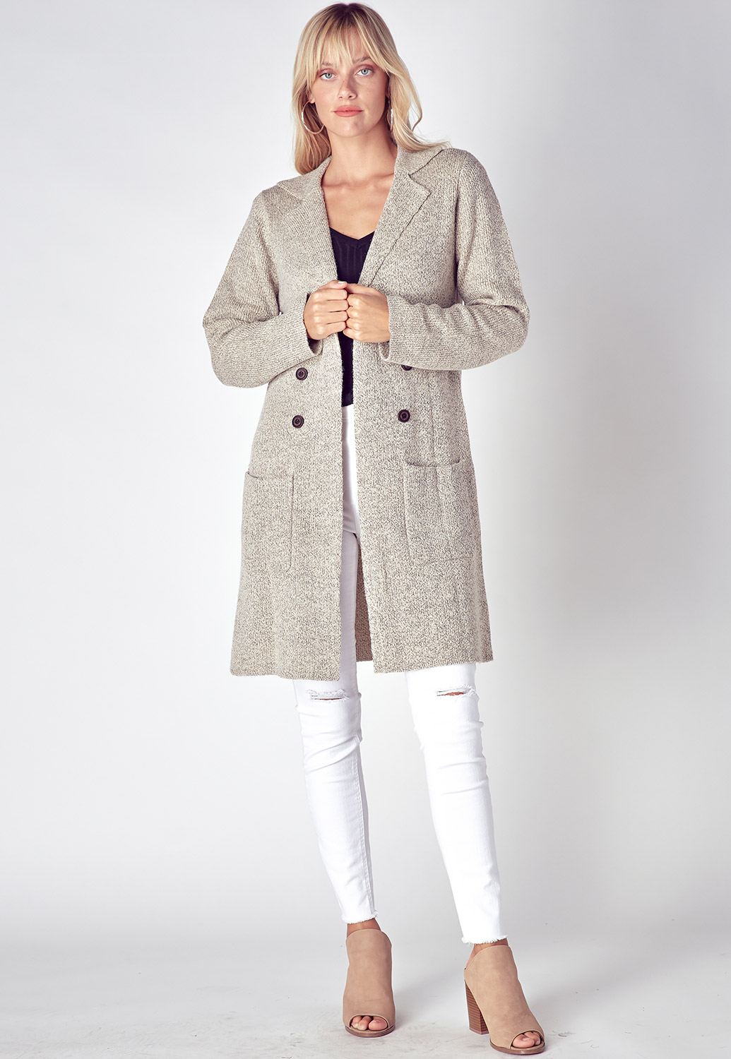 Fall Trendy Long Sleeve Button Detailed Cardigan
