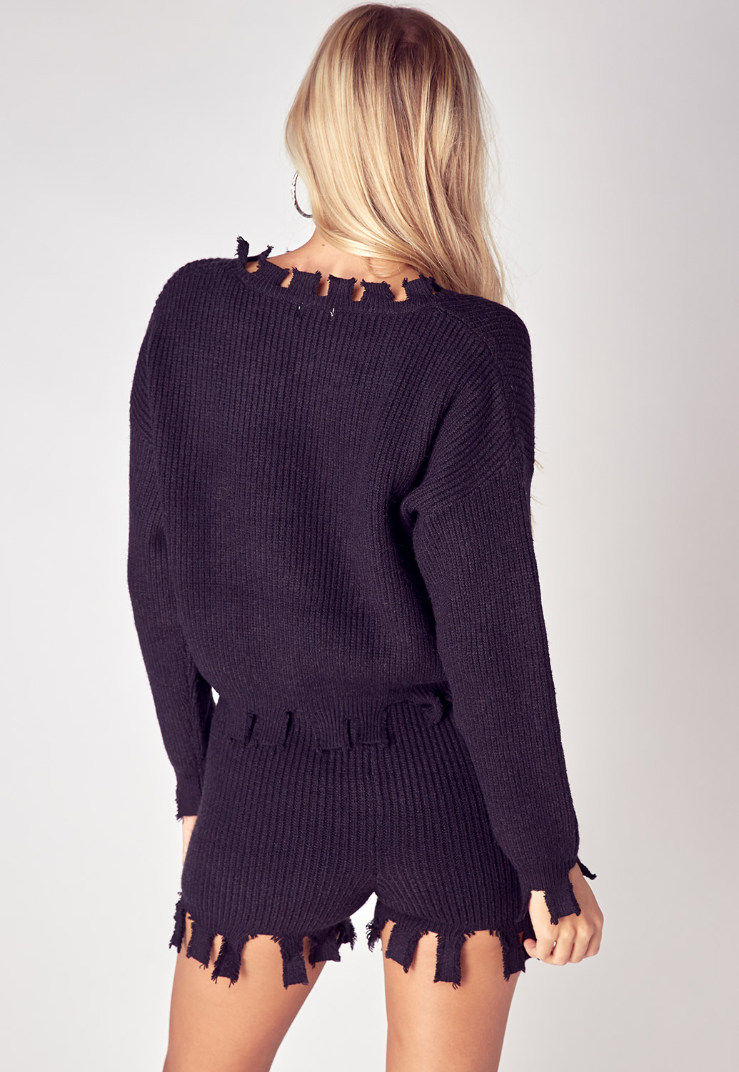 Frayed Edge Detail Sweater Two Pieces Set