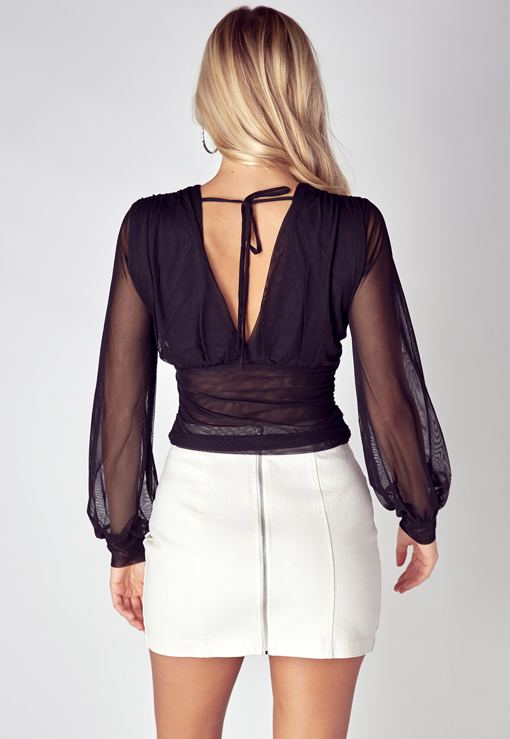 Deep V-Neck Ruched Sheer Blouse