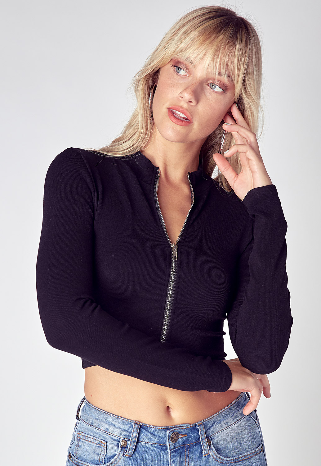 Basic Zip Up Cropped Activewear Jacket