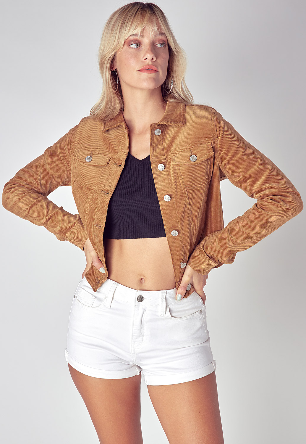 Cropped Corduroy Button Up Jacket