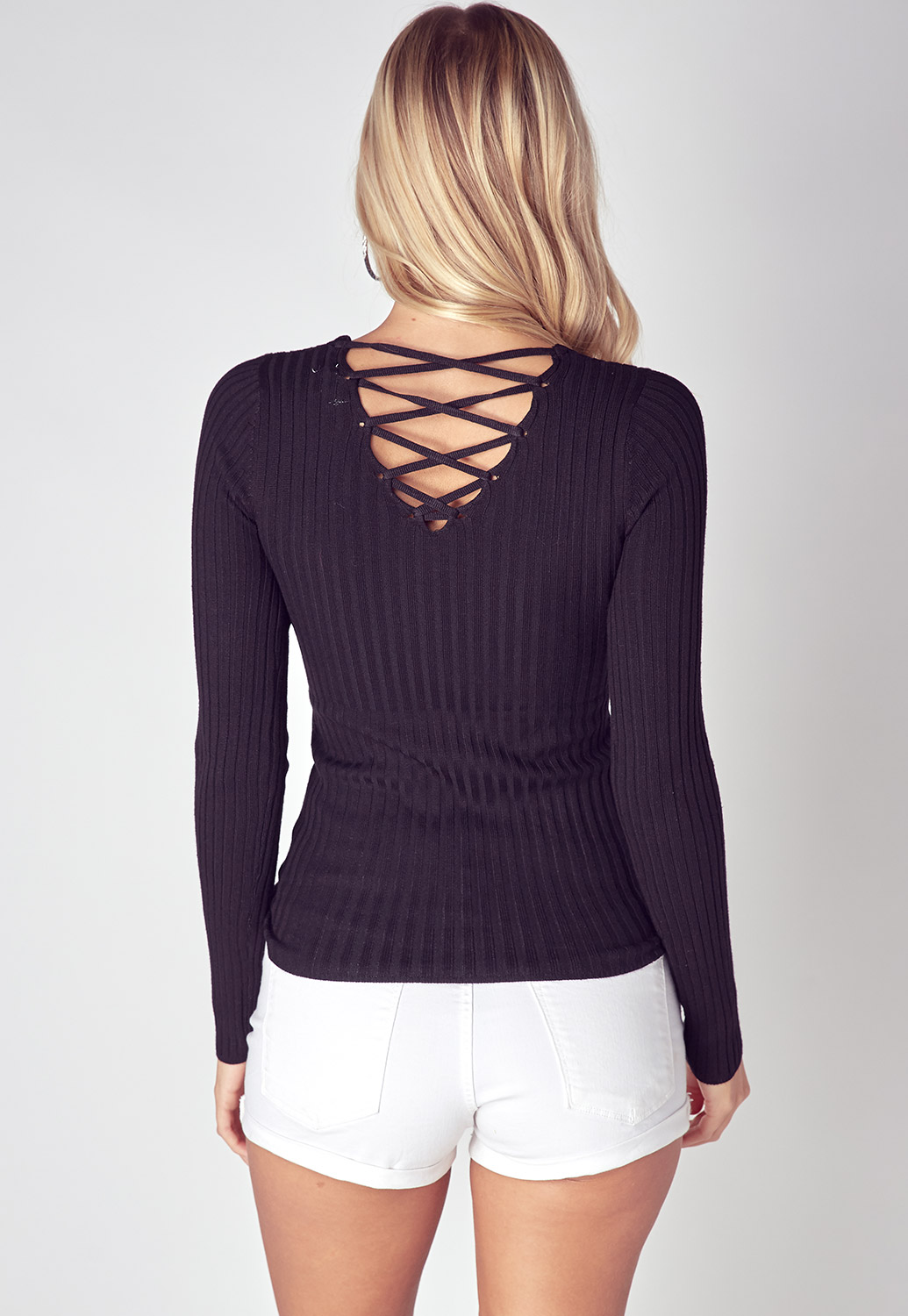 Criss Cross Back Detailed Ribbed Top