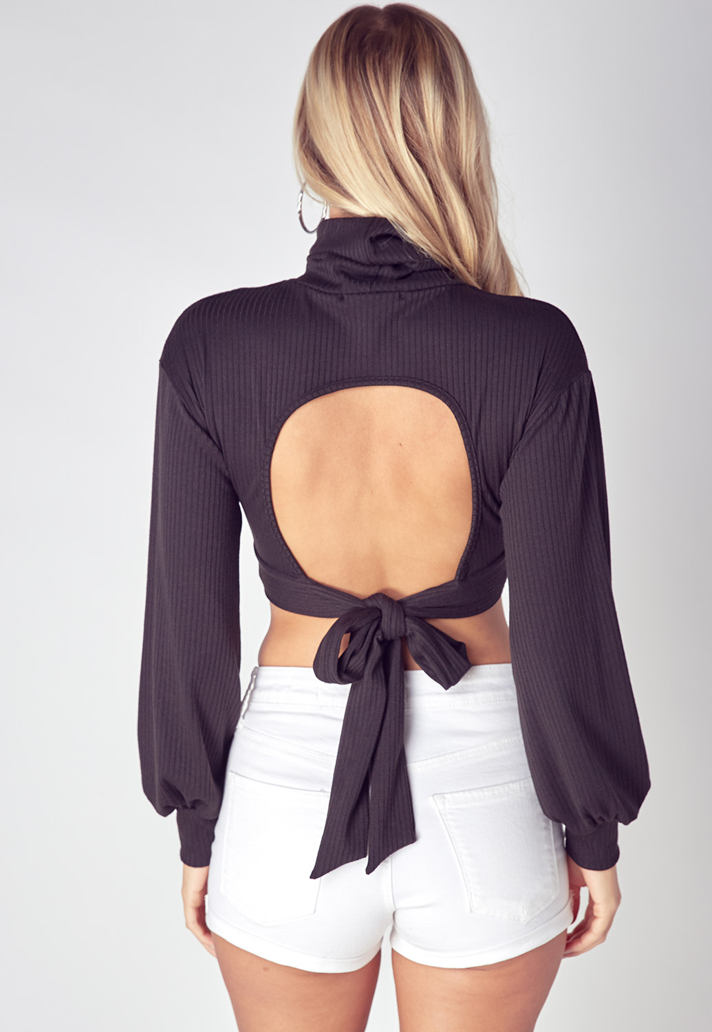 Turtle Neck Cropped Top With Open Back Tie