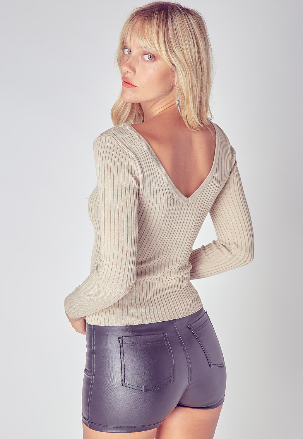 Wide V-Neck Ribbed Long Sleeve Top