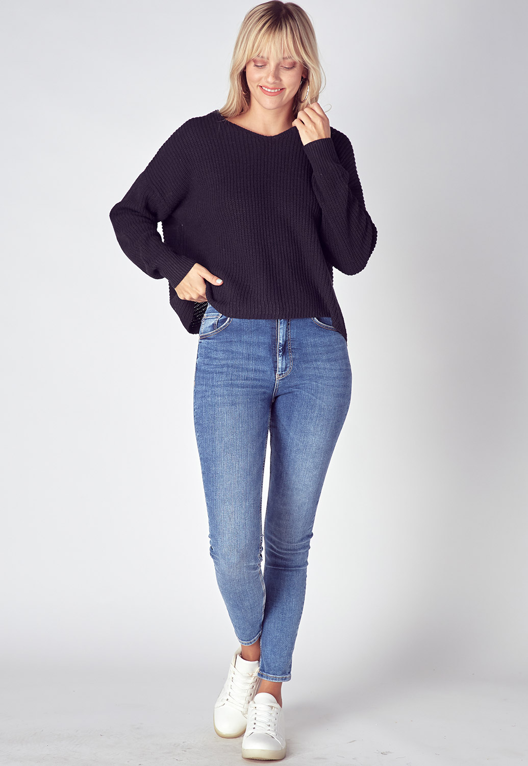 Oversized V-Neck Cross Back Detailed Sweater