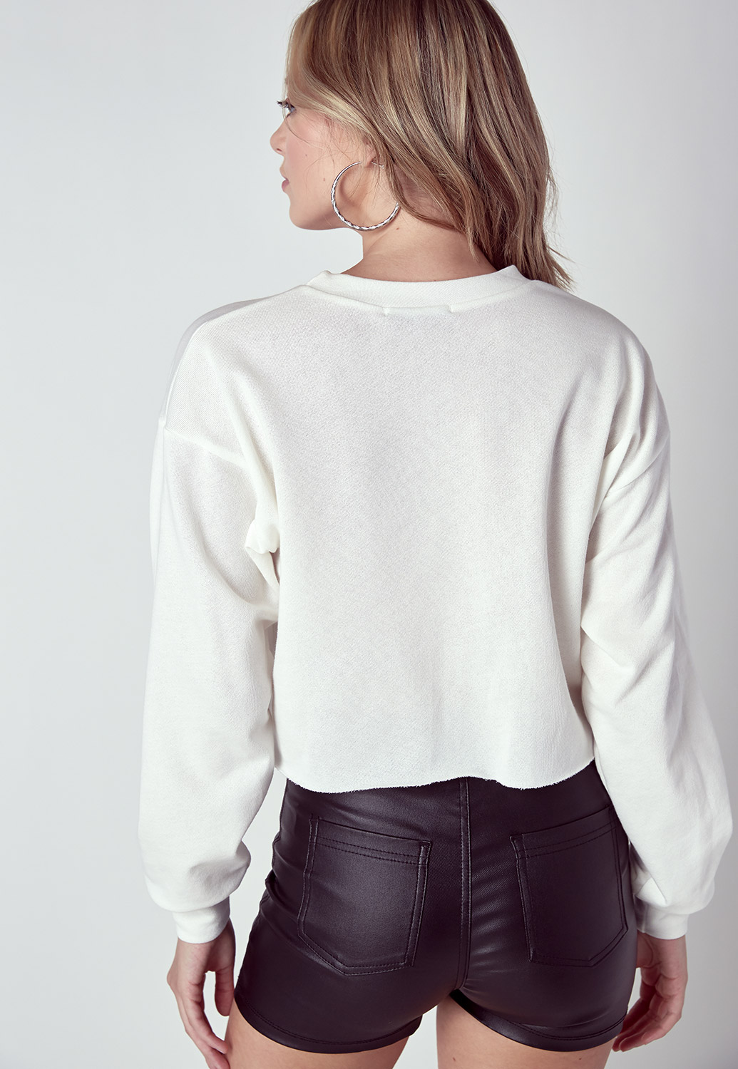 Printed Long Sleeve Cropped Tee