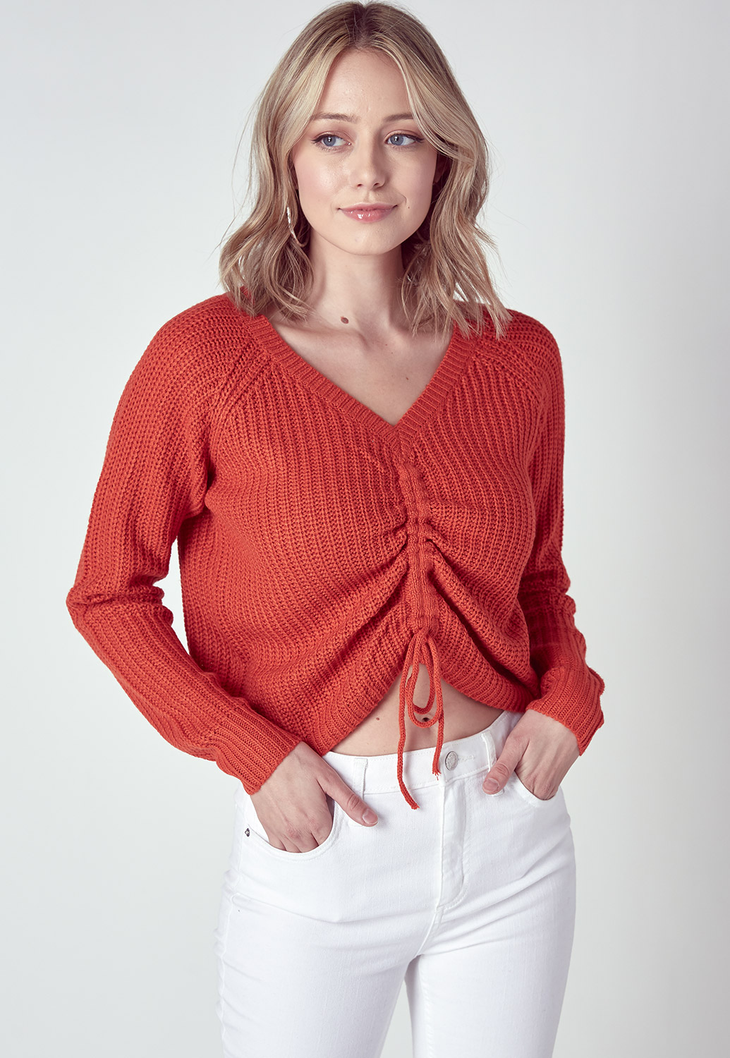 V-Neck Drawstring Front Crop Sweater