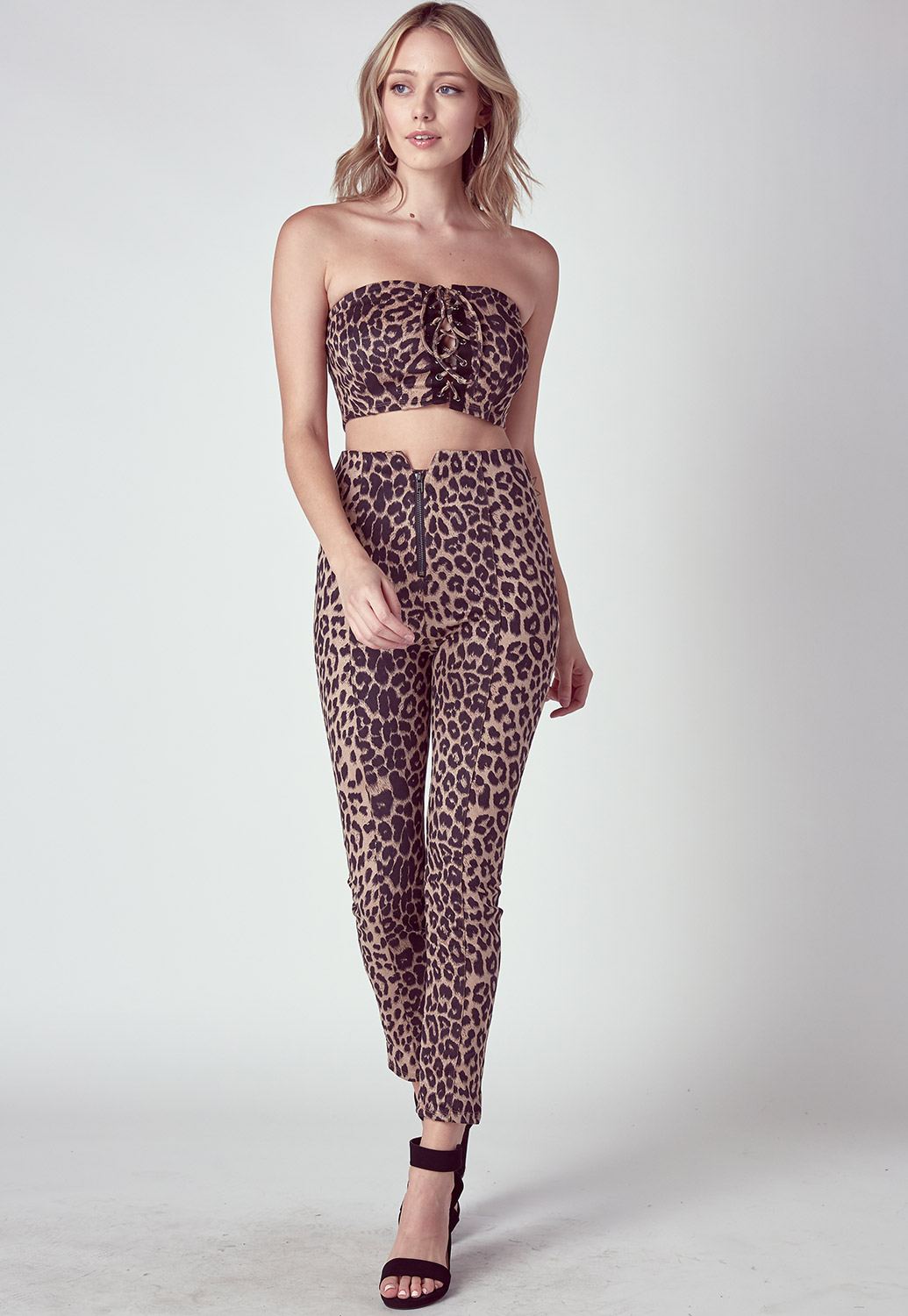 Leopard Crop Top & Pants Set