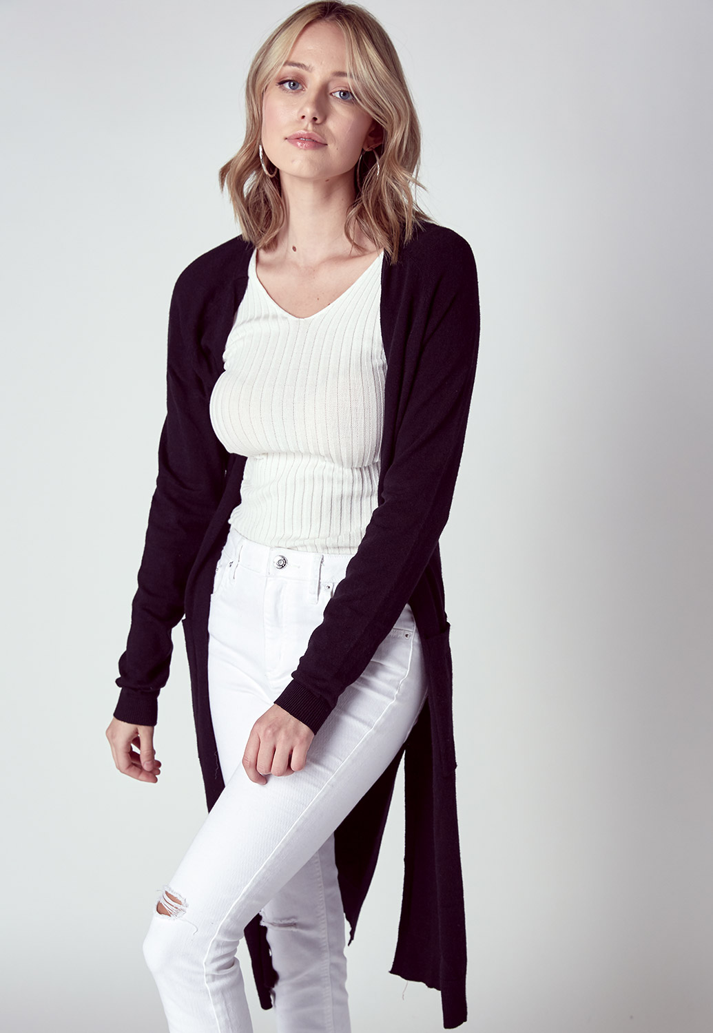 Long Line Open Front Sweater