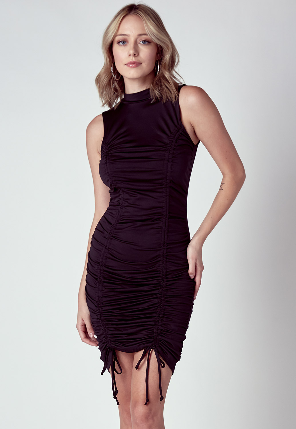 Double Drawstring Front Bodycon Mini Dress