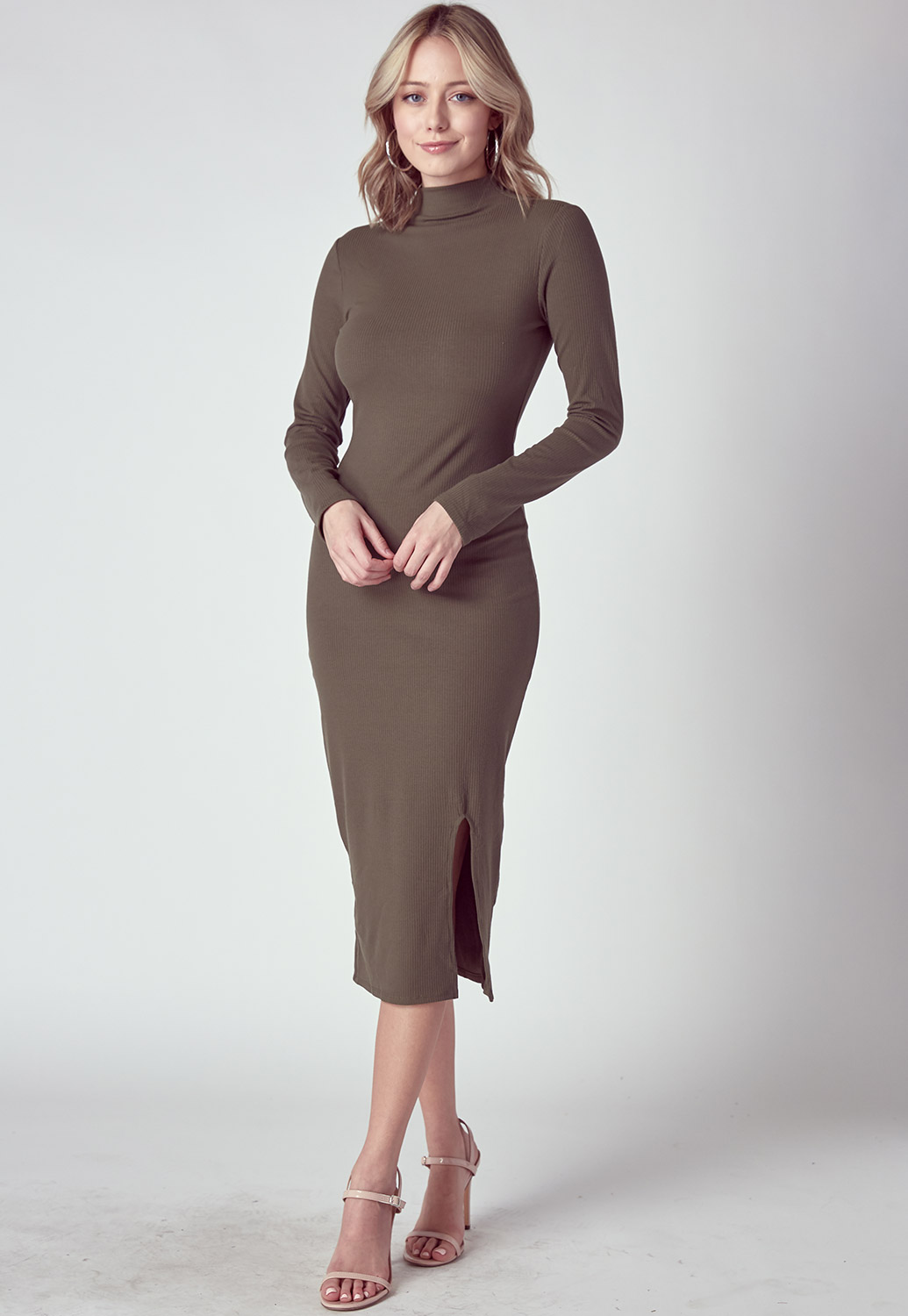 Basic High-Neck Midi Dress With Side Slit Detail