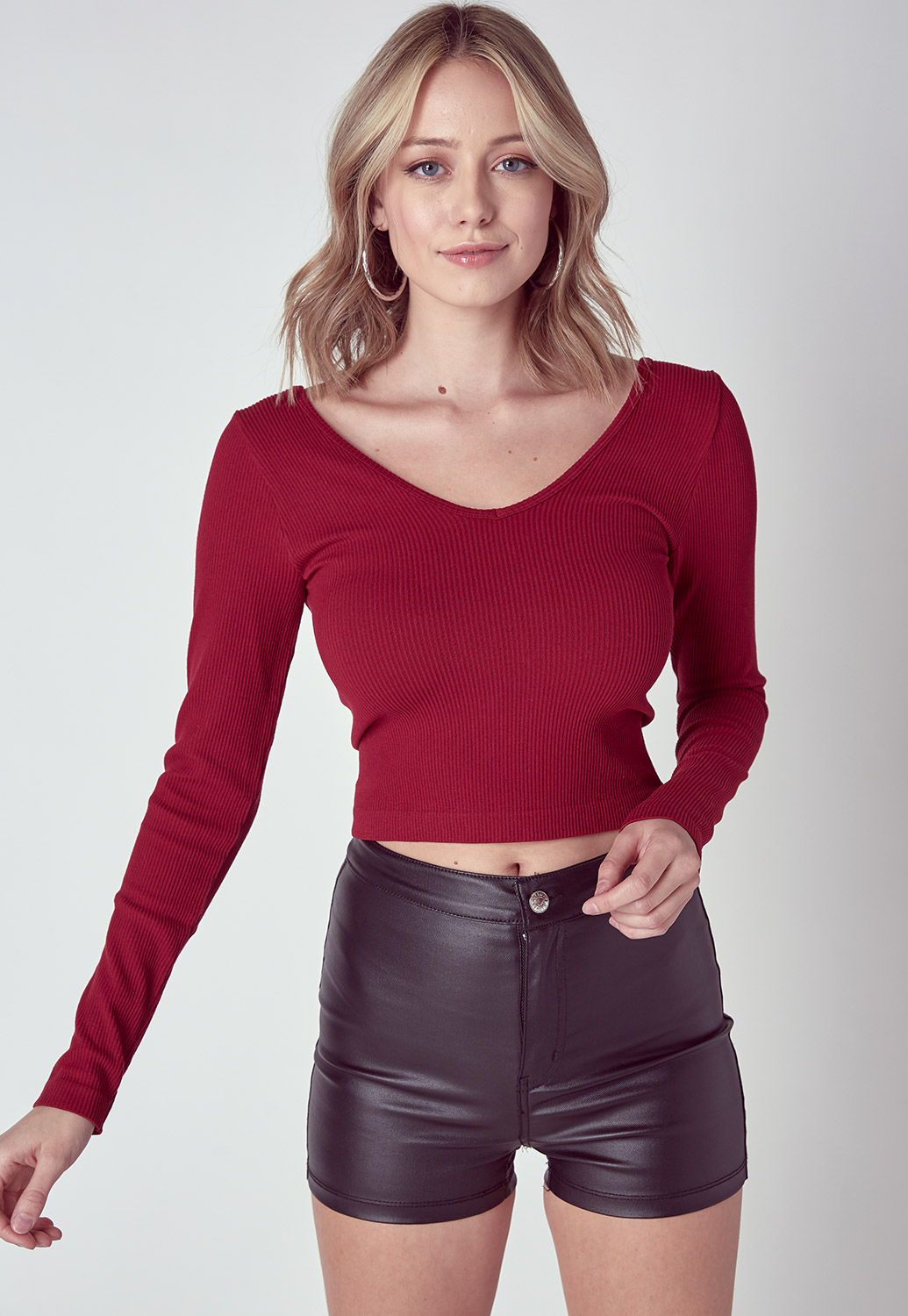 Deep V-Neck Basic Ribbed Crop Top