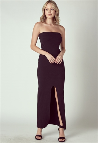 Off The Shoulder Maxi Dress With Front Slit
