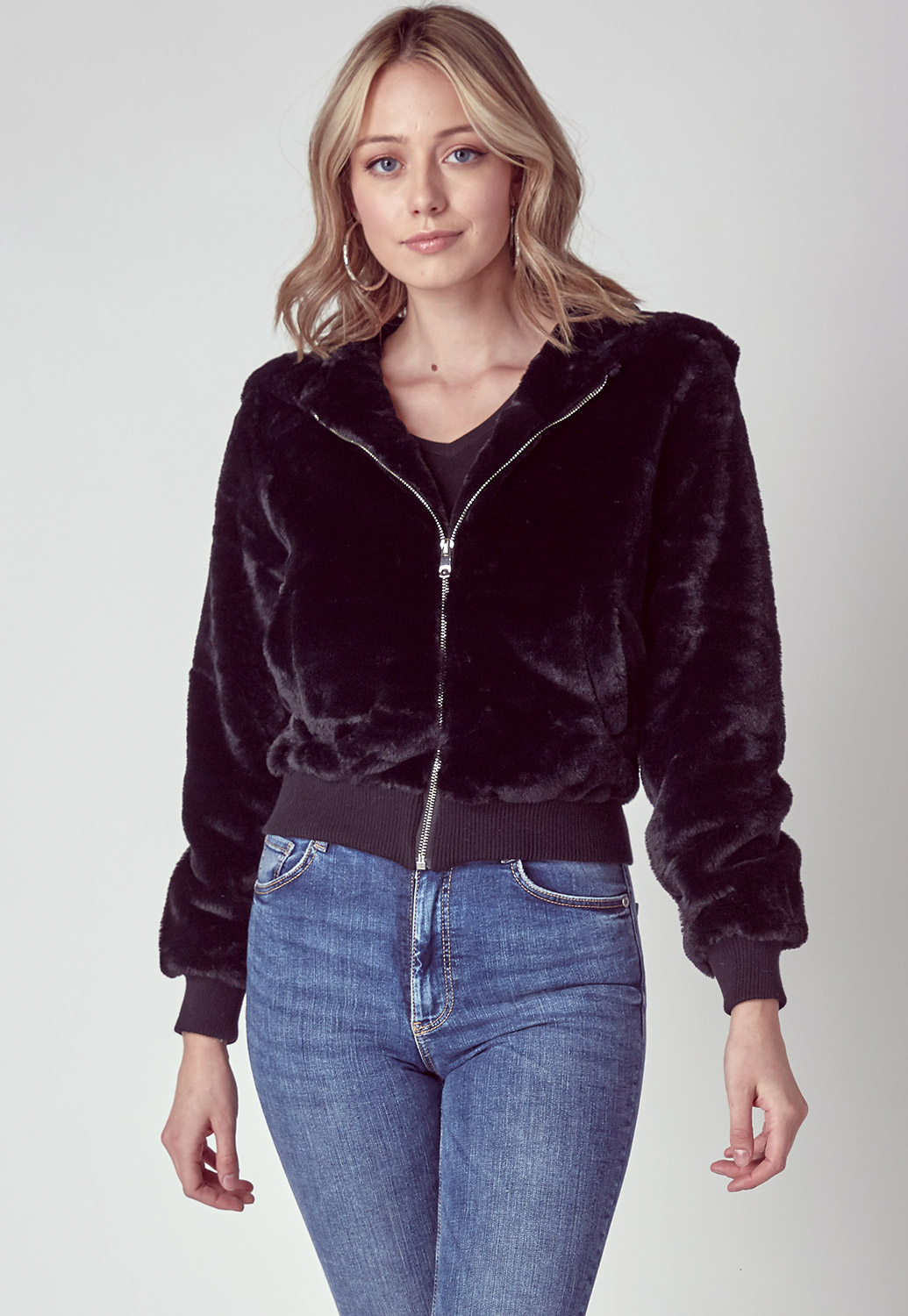 Teddy Faux Fur Zip Up Front Sweater Jacket