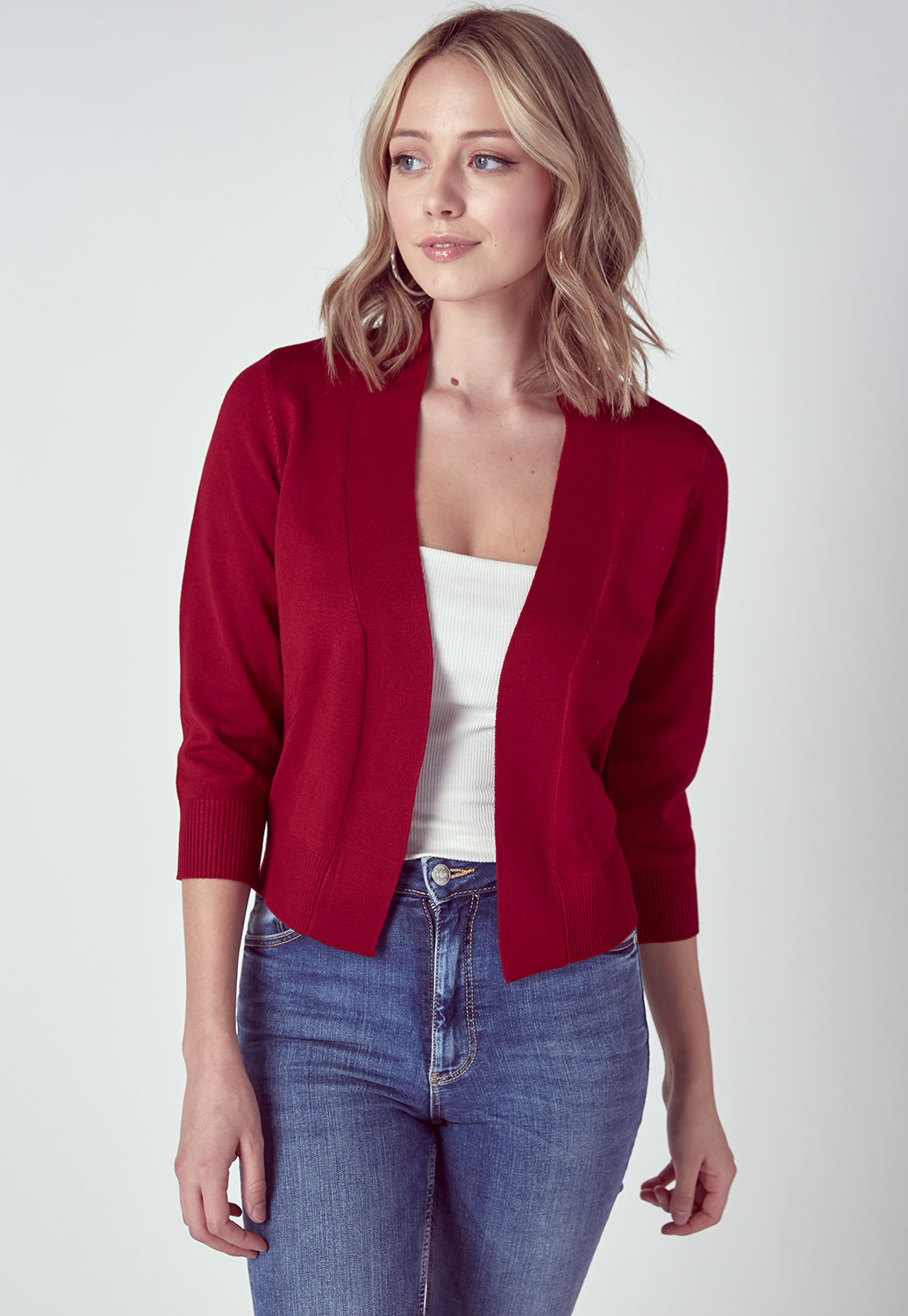 Three-Quarter Sleeve Cropped Cardigan