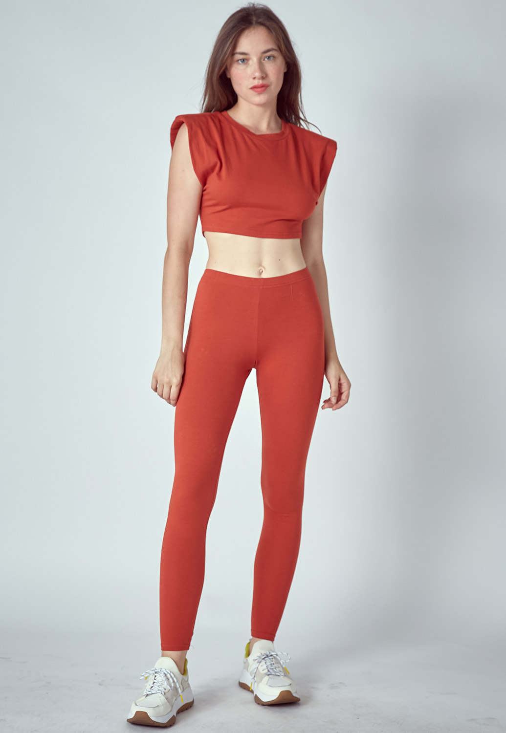 Shoulder Pad Sleeveless Top & Pants Set