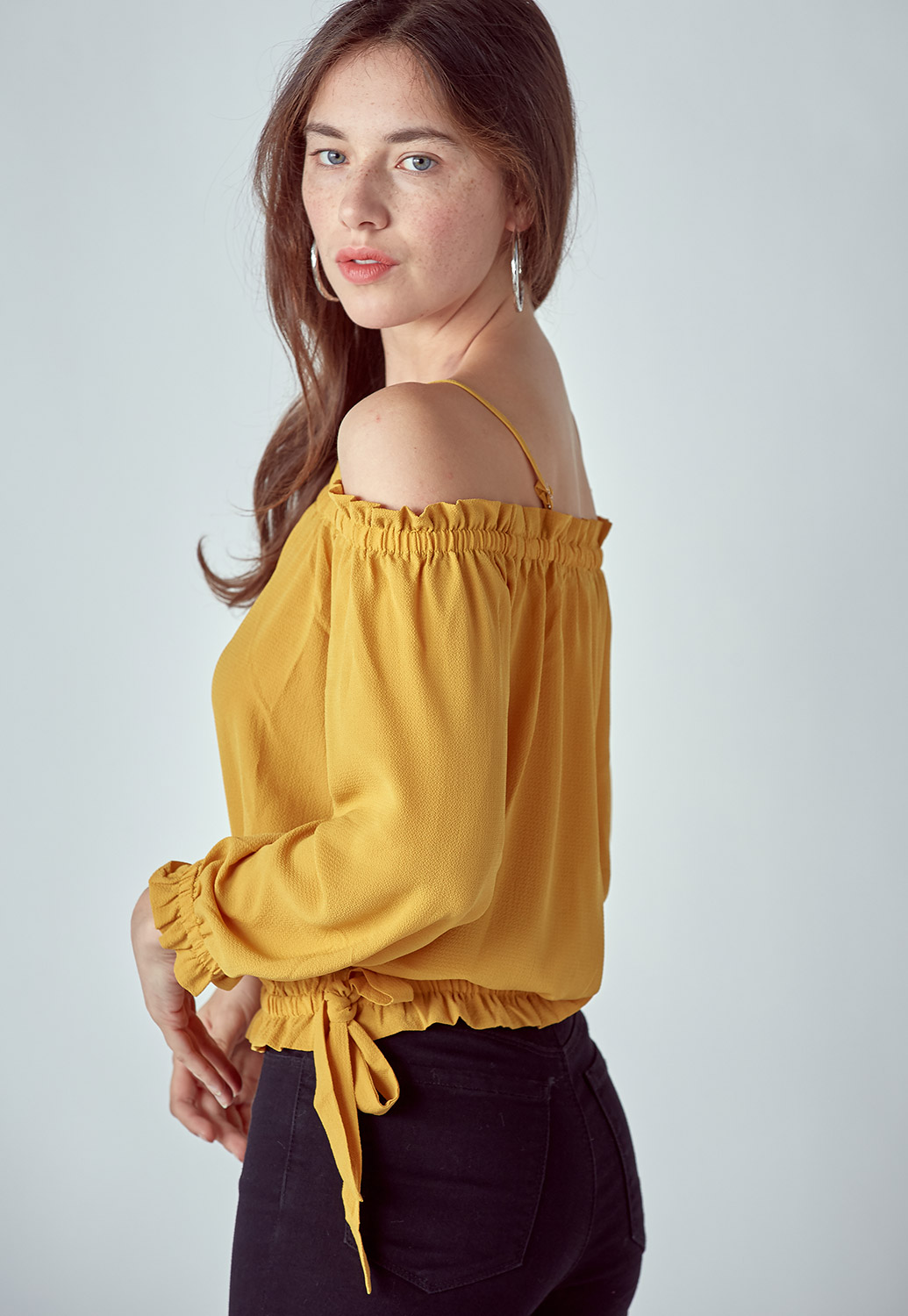 Off Shoulder Drawstring Blouse