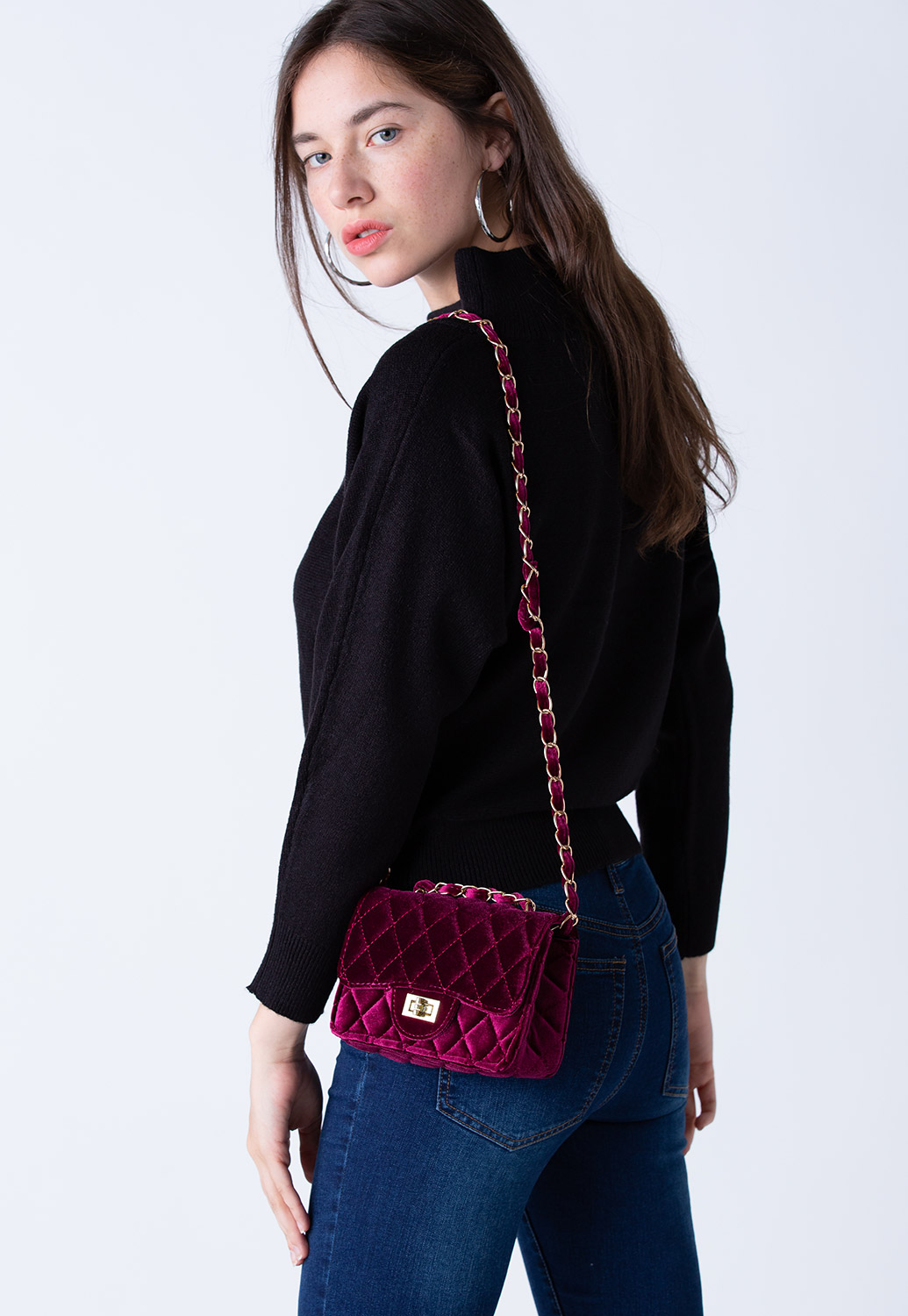 Velvet Shoulder Bag With Chain Strap