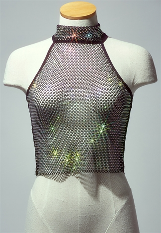 Sheer Glittery Halter Top