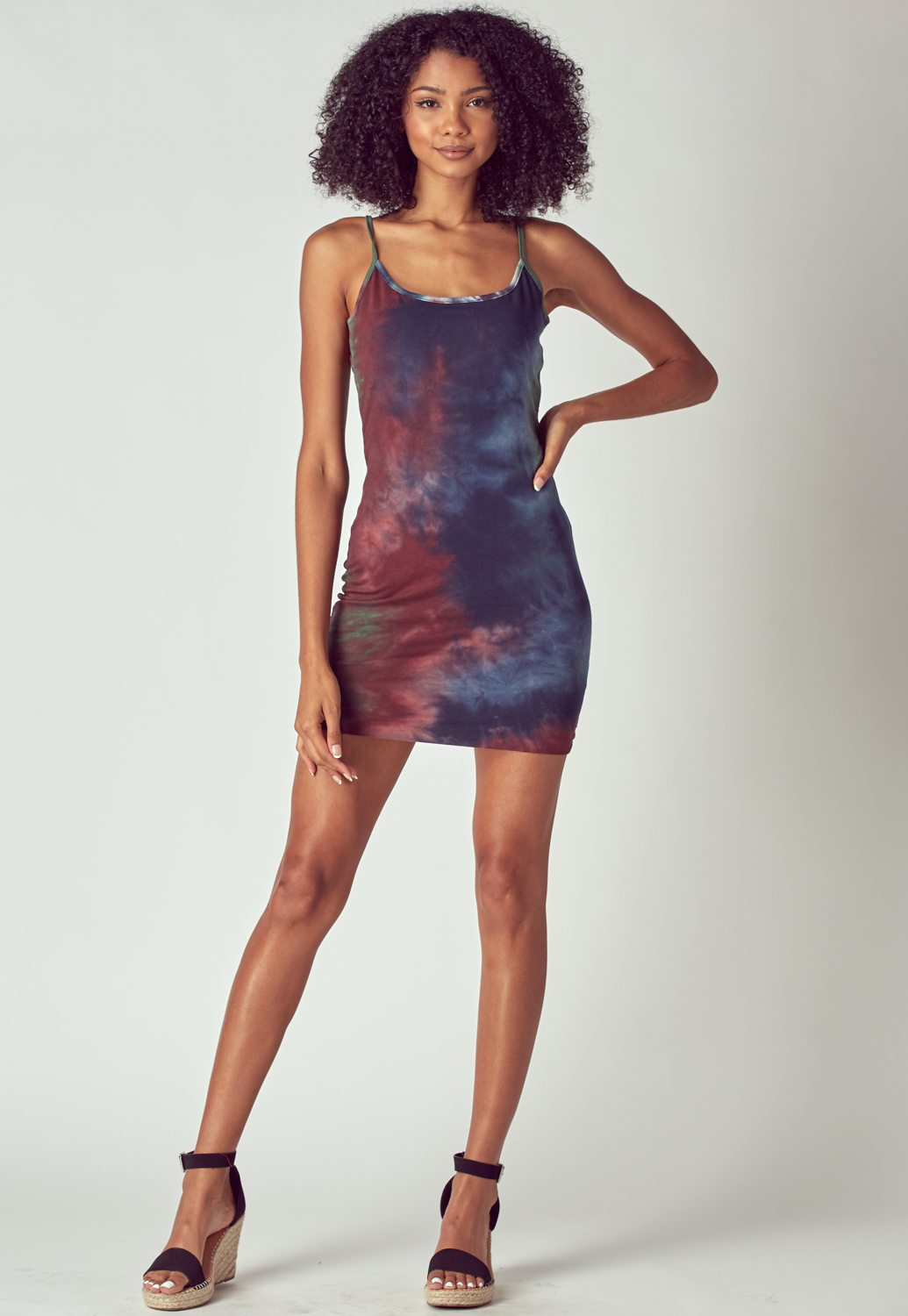Tie Dye Spaghetti Straps Mini Dress
