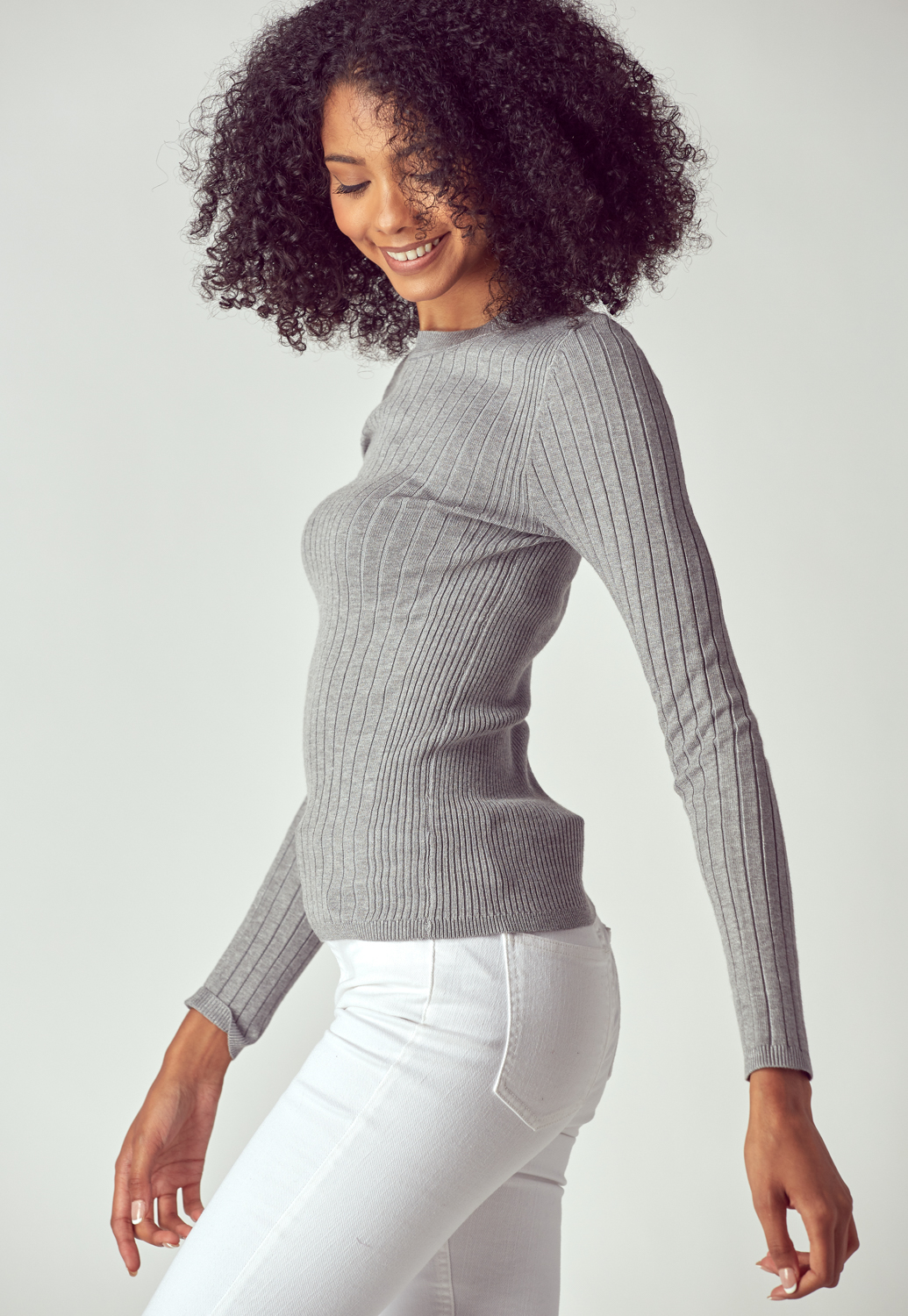 Round Neck Ribbed Knit Sweater