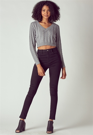 Strapless Twist Crop Sweater
