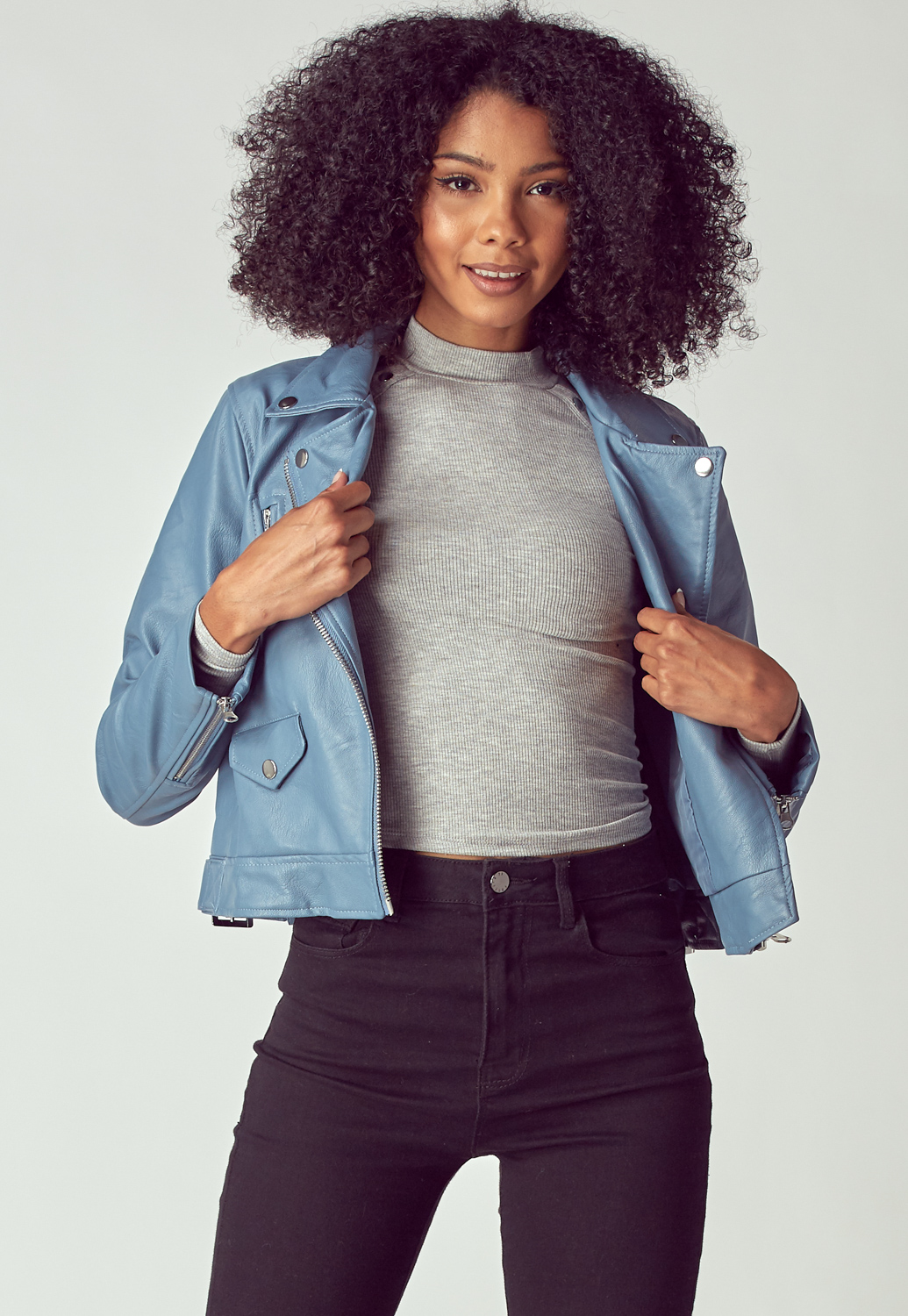 Blue Basic Biker Jacket