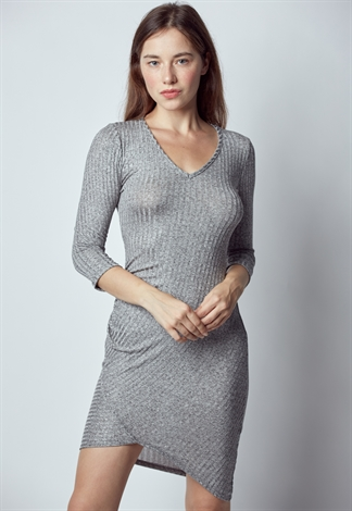 Long Sleeve V Neck Midi Dress