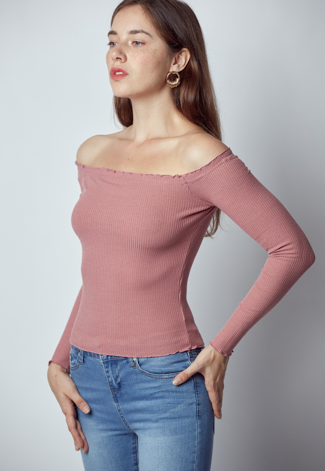 Off Shoulder Long Sleeve Top