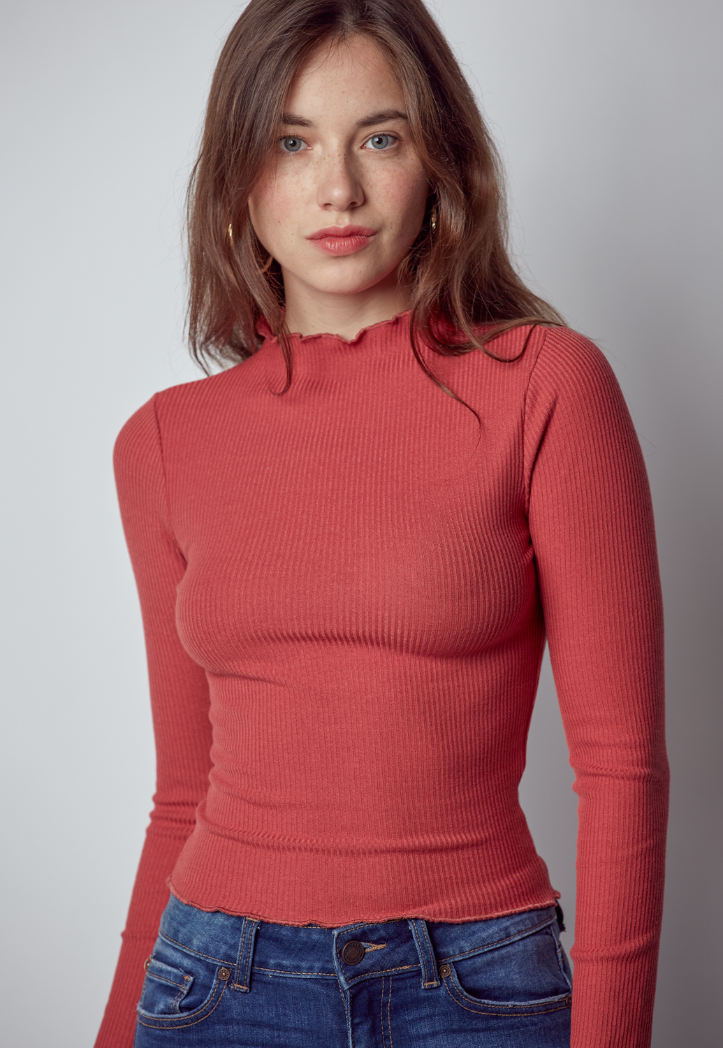 Long Sleeve Ribbed Mock Neck Knit