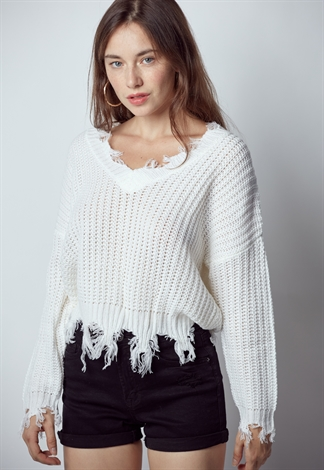 V-Neck Ripped Pullover Knit Sweater