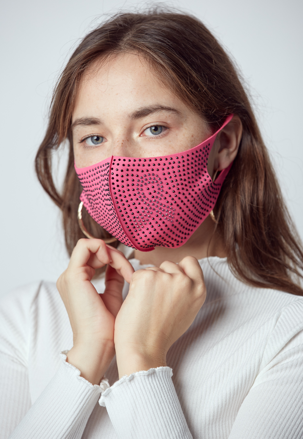 Pink Ribbon Rhinestone Face Mask