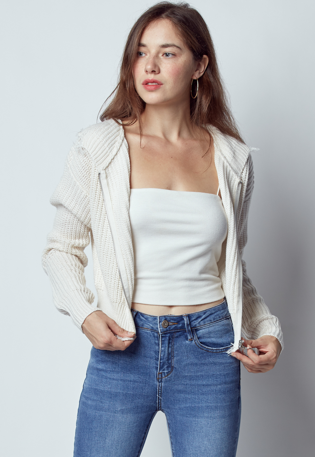 Loose Ripped Sweater Jacket