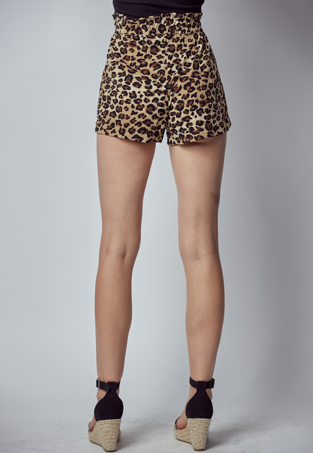 Leopard Print Belted Shorts