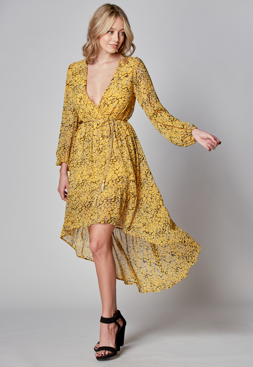 Yellow Leopard Print Midi Dress