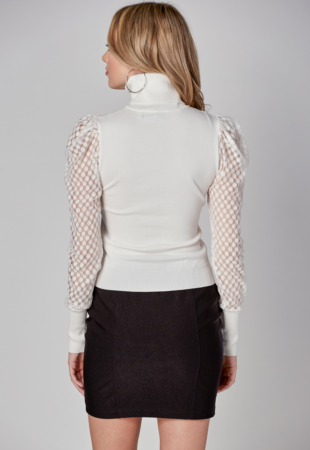 Turtleneck Puff Mesh Long Sleeve Knitted Top