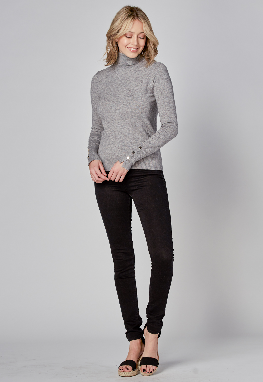 Knit Turtleneck With Gold Buttons
