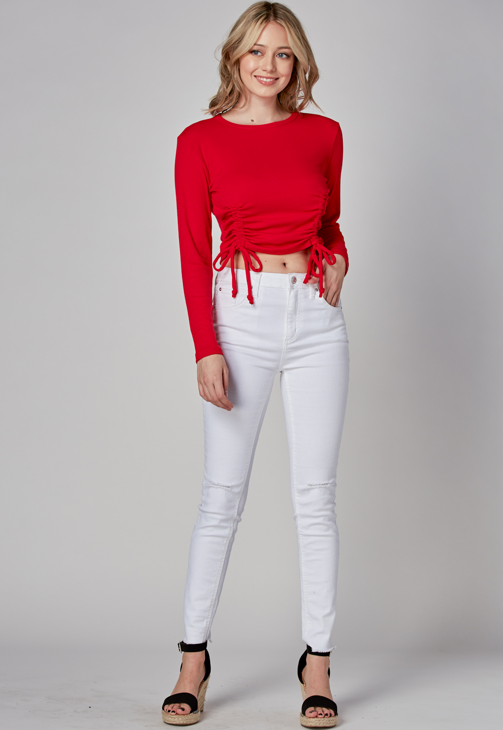 Round Neck Drawstring Knit Top
