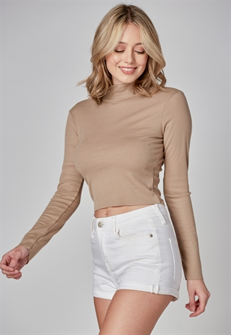 Mock Neck Long Sleeve Crop Top