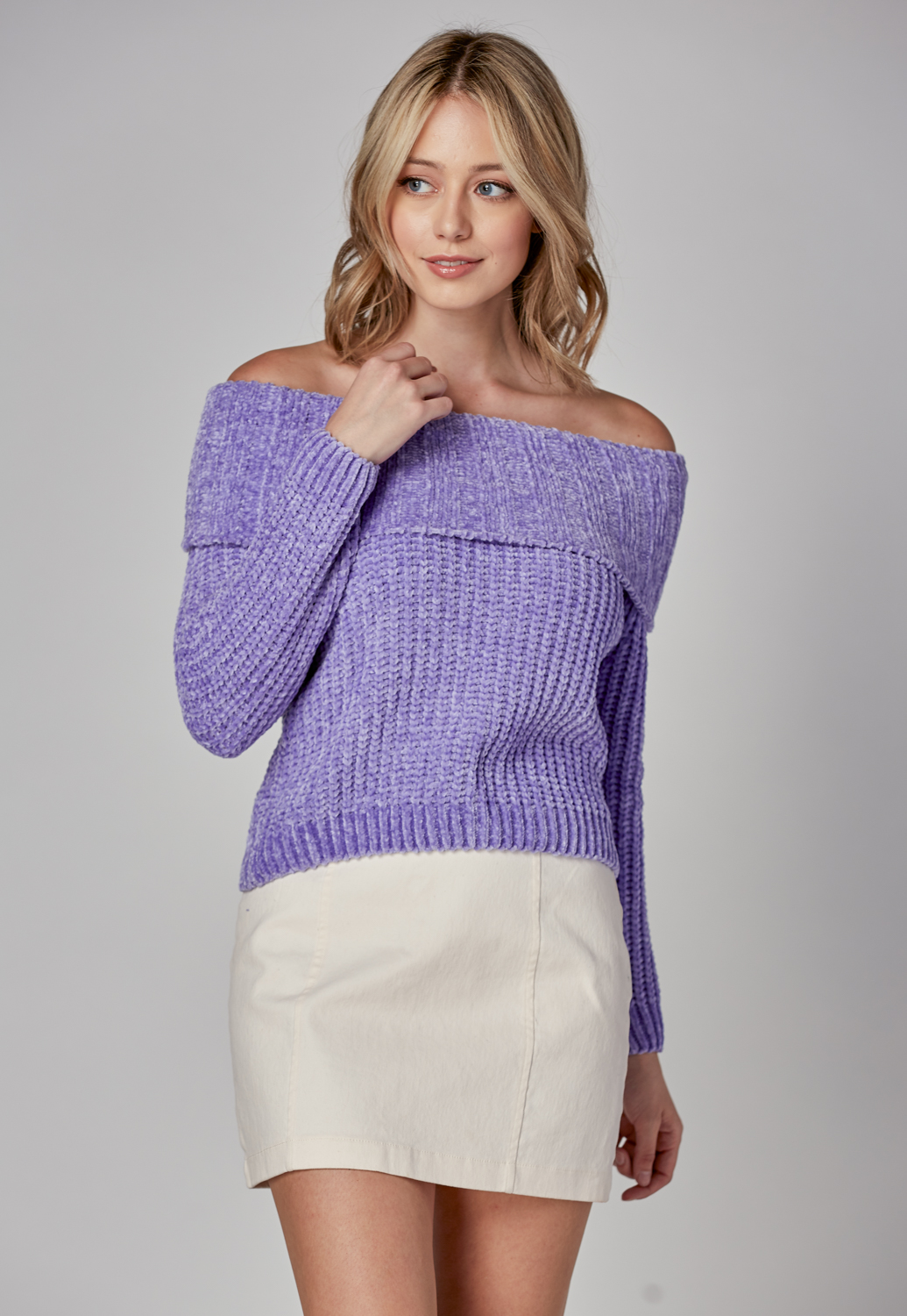 Velvet Yarn Off Shoulder Sweater